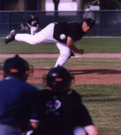 A pitcher throwing a baseball